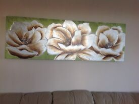Canvas picture as new ,greens,and metallic silvery browns