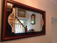 Beautiful large wooden Mirror dried flower inserts with leaded glass