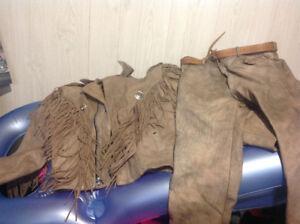Ensemble manteau et pantalon vraie cuir