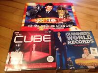 Set of 3 as new board games Doctor who, the cube,Guinness world records.