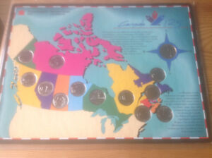 1992 'CANADA 125' COMMEMORATIVE 25 CENT & DOLLAR COIN SETS  MAP