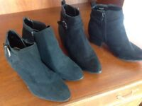 Quality size 3 black ladies/girls ankle Chelsea boots one M and S one New Look 915