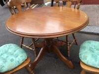 Solid Pine Table and Four Chairs : Free Glasgow Delivery