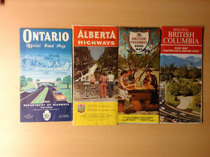 4 Vintage 1960s-70s Gov't Issued Provincial Official Road Maps