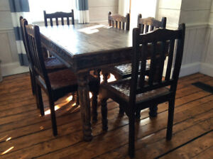 Rustic Hand-Crafted Farm Style Dining Table and Six Chairs