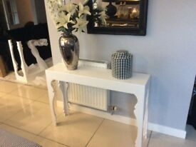 Stunning White High Gloss Console Table. New.