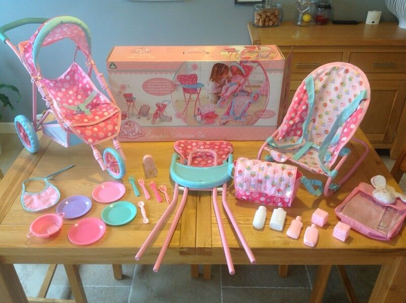 ELC COMPLETE BABY DOLL ACCESSORIES PLAY SET INC PRAM BUGGY HIGH + BOUNCY CHAIR ETC