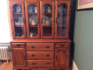 Solid Maple China Cabinet and Hutch