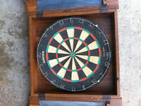 WALL CABINET, COMPLETE WITH DART BOARD
