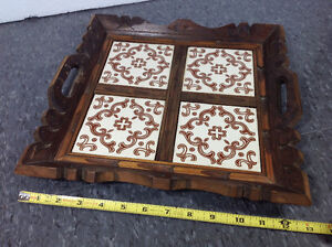 """Vintage wood and tile decorative tray - 13""""x13"""""""