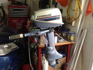6HP Twin Evinrude outboard, with new plastic gas tank!