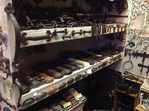 Cast iron pulls, hinges handles, bells, glass butter churns.....