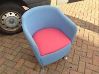 2 reception/office bucket style chairs pink/blue