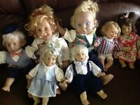 Baby dolls various ages they are made of plastic not porcelain,