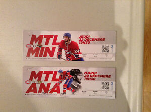 Billets hockey Canadiens contre Anaheim et contre Minnesota