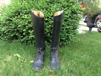 Equestrian Leather Boots and Helmet