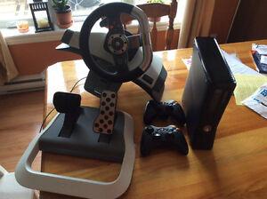 Xbox 360 avec Kinect et volant et 20 jeux