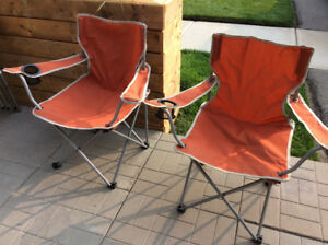 Foldable Orange Ozark Camping Chair x2