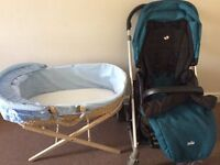 Moses basket + stand, pushchair & car seat