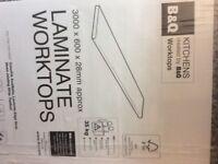 Laminate Kitchen round edge worktop, grey granite effect