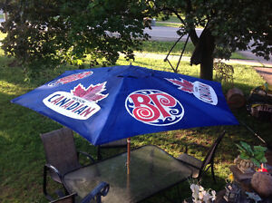 """MOLSON CANADIAN"" 9 FT. SPAN UMBRELLA - LIKE NEW CONDITION"