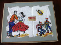 SQUARE DANCING PATTERN HAND PAINTED TOWEL SET (VINTAGE)