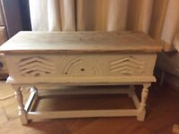 Wood bench seat bench side table with storage white