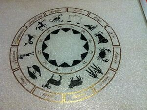 Vintage Astrological Sign Cutting Board Glass Silver Gold Cook L
