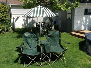 Two Person Coleman Folding Chairs with umbrella and cooler