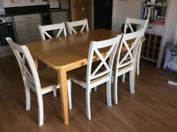 Wood/White Dining Table with 6 Chairs