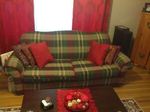Burgundy Plaid Couch