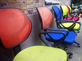 4 modern office chairs mixed colours mesh back