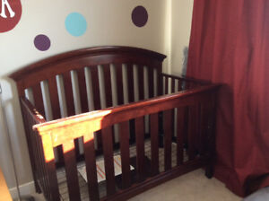 Solid Wood Convertible Crib with Organic Mattress and Bedding