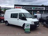 2013 13 FORD TRANSIT 2.2 350 6 SEAT FACTORY CREW VAN 125 BHP WITH FSH