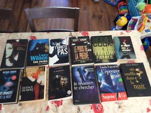 Livres thriller 3$ chaque livres Ou 20$ le lot de 12 livres