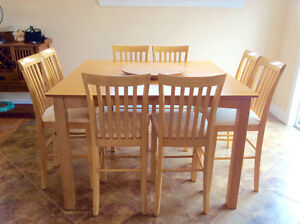 Pub Table and 8 Matching Chairs