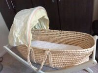 Moses Basket, Mattress, Stand & Fitted Sheets