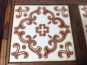 "Vintage wood and tile decorative tray - 13""x13"" Cambridge Kitchener Area image 4"