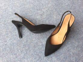 Next Size 6.5 / 40 Black Stiletto Sling Back Court Shoe