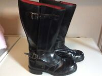 Black Leather Men's Motorbike Boots