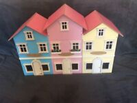 Large row of shops wooden dolls house