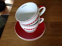 Red & White Cappucino Cups & Saucers