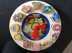 Fisher price little people like new teaching time clock puzzle