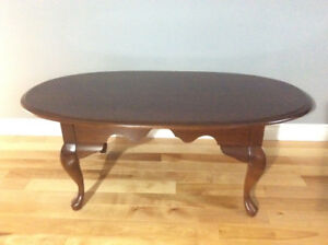Solid cherry coffee table and two dropleaf end tables