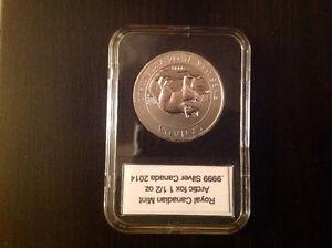 2014 silver Arctic Fox/Fox arctique 1,5 once/ounce coin (.9999)