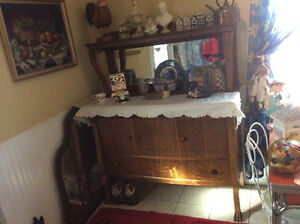 Antique oak sideboard/buffet with claw feet plus other antiques