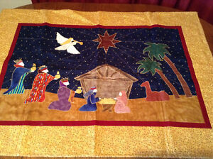 NEW QUILTED  CHRISTMAS NATIVITY WALL HANGING