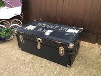 Black steamer trunk toy box storage chest