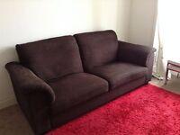 Ikea Dark Brown Fabric Sofa - BARGAIN FOR £40!!!