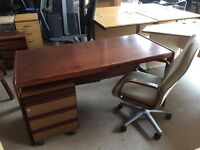 Rose wood rectangle desk with pedestal and swivel chair